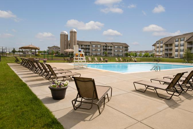 View of Rockford Apartments from the pool