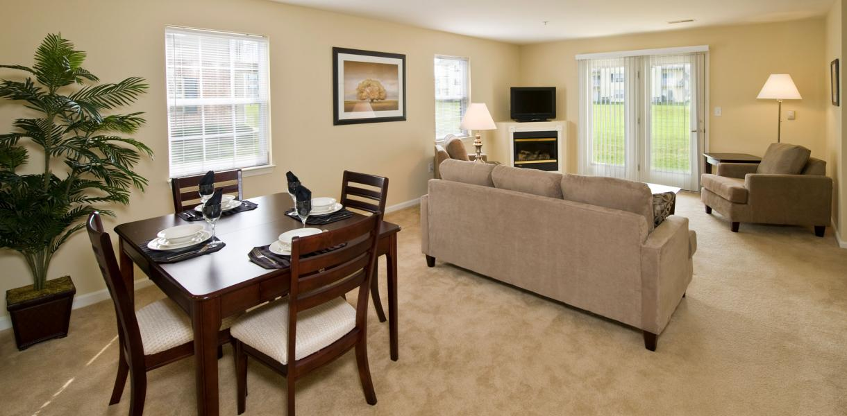 view of dining and living area at Rockwood Apartments