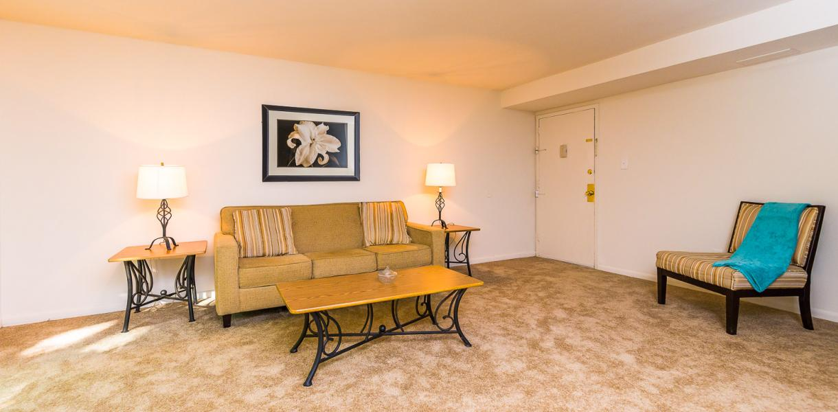 a spacious living area within one of the Melrose Place & Possum Park apartments