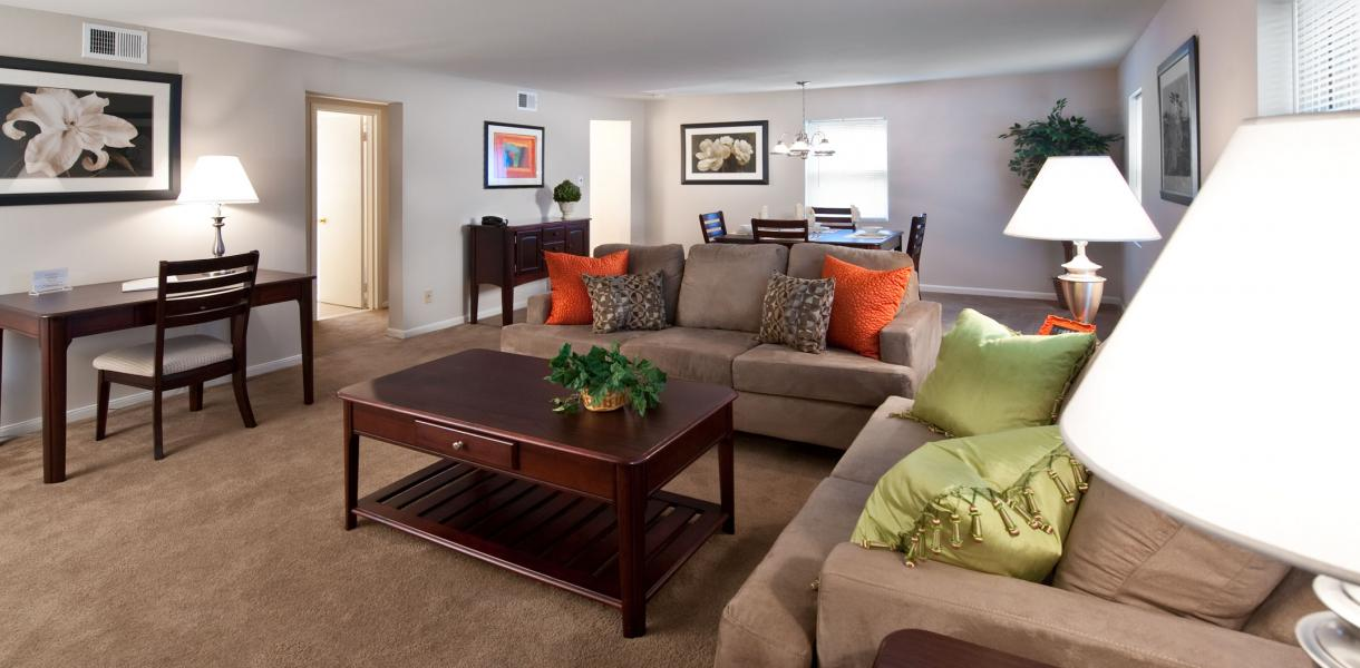 a living room within one of the Greenville Place apartments