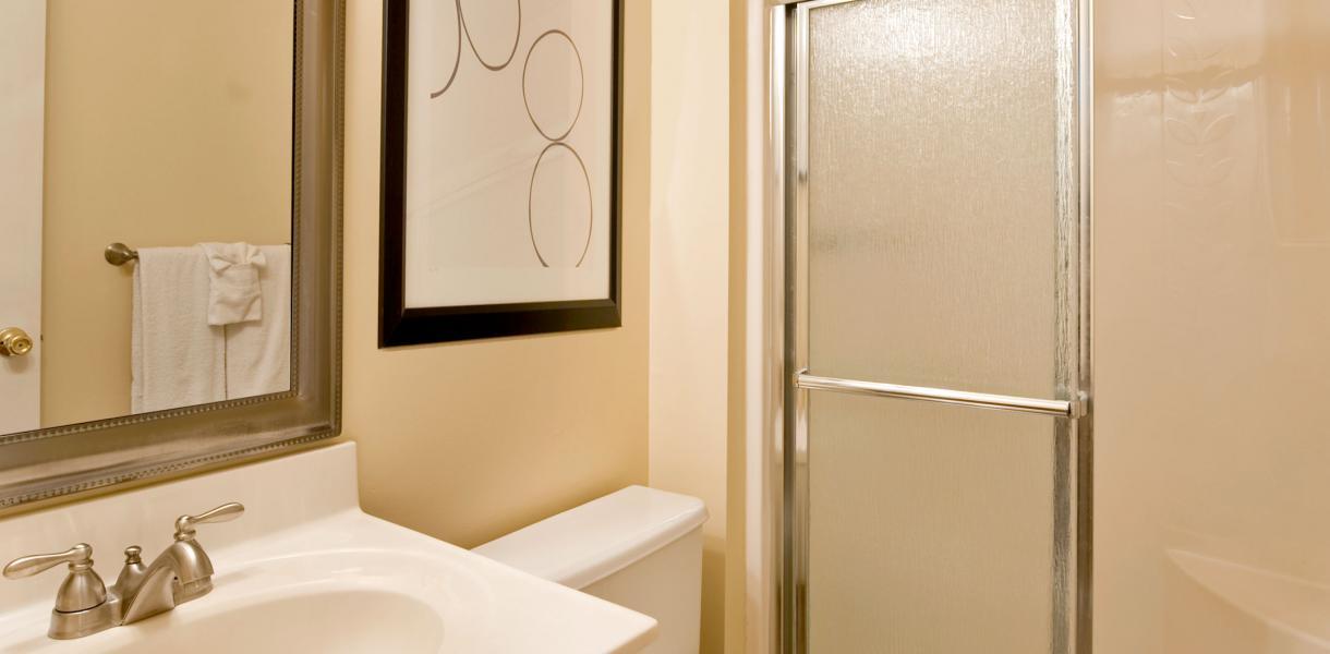a bathroom within one of the Greenville Place apartments