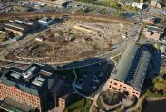Different angle of construction before Christina Crescent Building was done